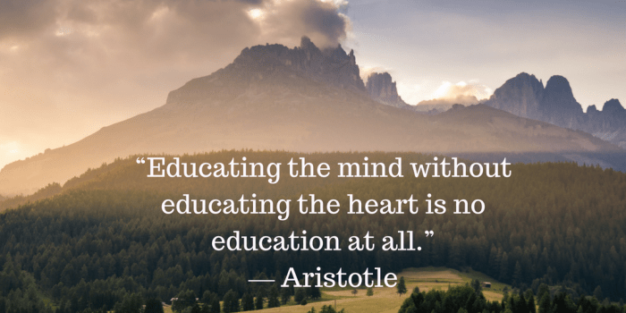 Educating the mind without educating the heart is no education at all. -Aristotle