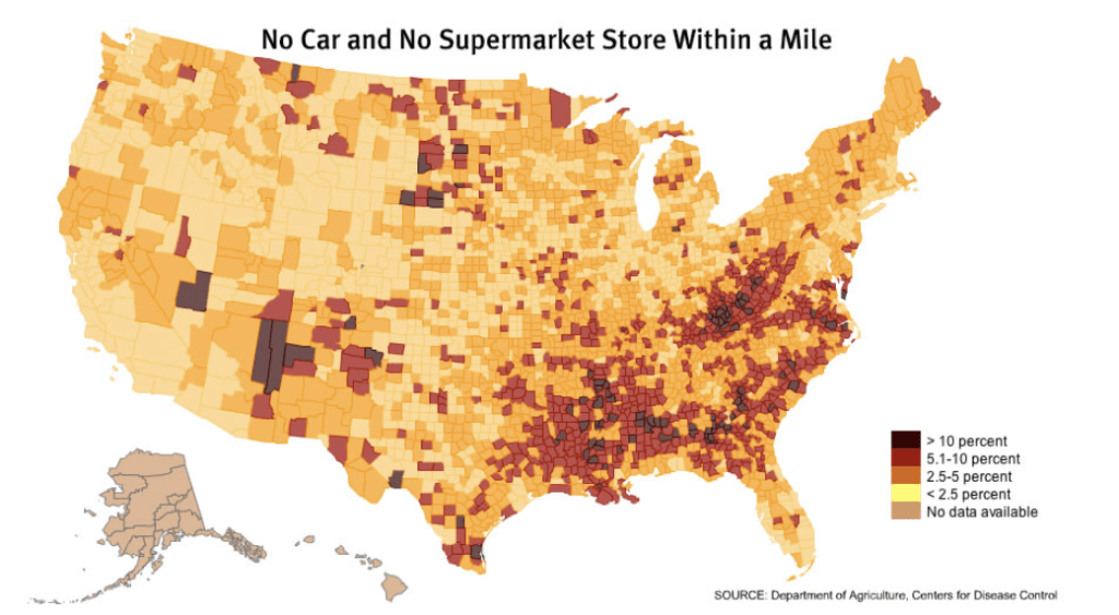 "US ""Food Deserts"" By County 
