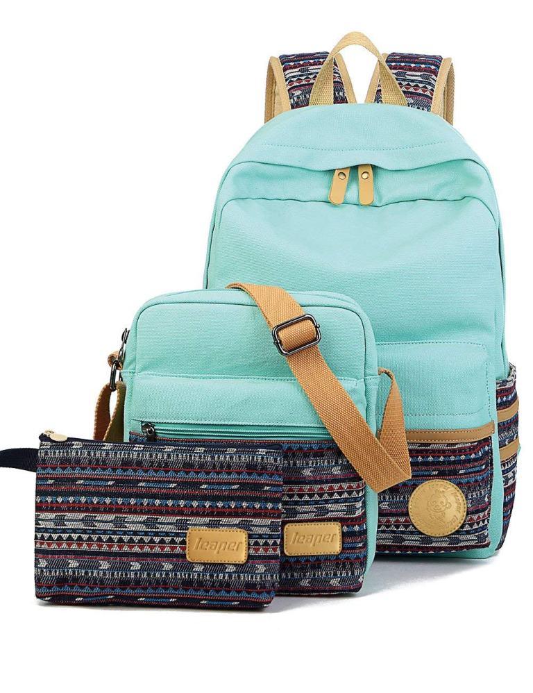 Superior Digital News - Leaper Casual Style Lightweight Canvas Laptop Backpack, Shoulder Bag, And Pencil Bag Bundle