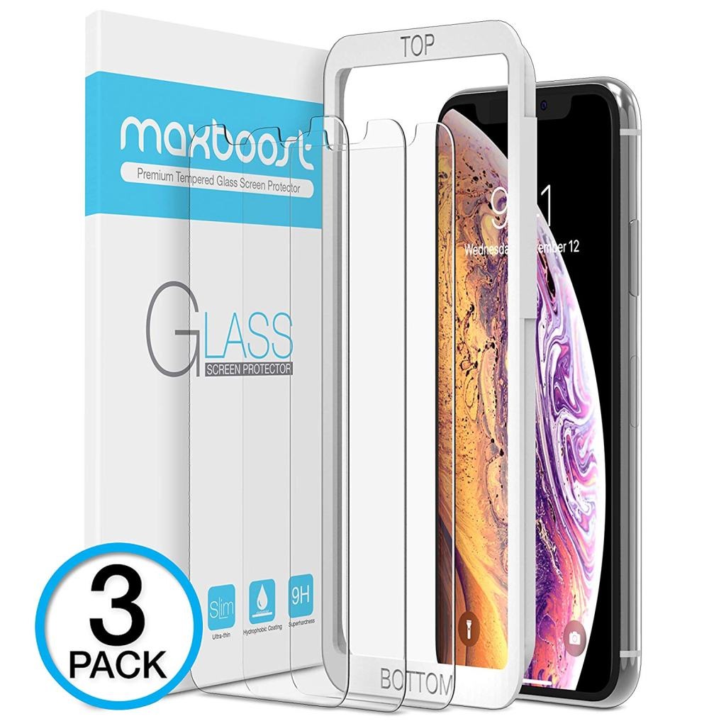 #1 Screen Protector Bundle: Maxboost Tempered Glass for iPhone XS Max