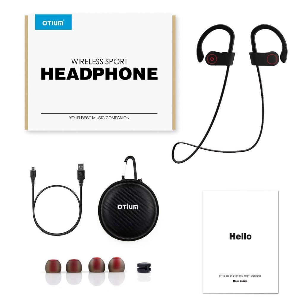 Superior Digital News - Otium Wireless Sport Earphones - Mic, IPX7 Waterproof, HD Stereo Sound, 8 Hour Battery, Over-Ear Hook - Accessory Kit