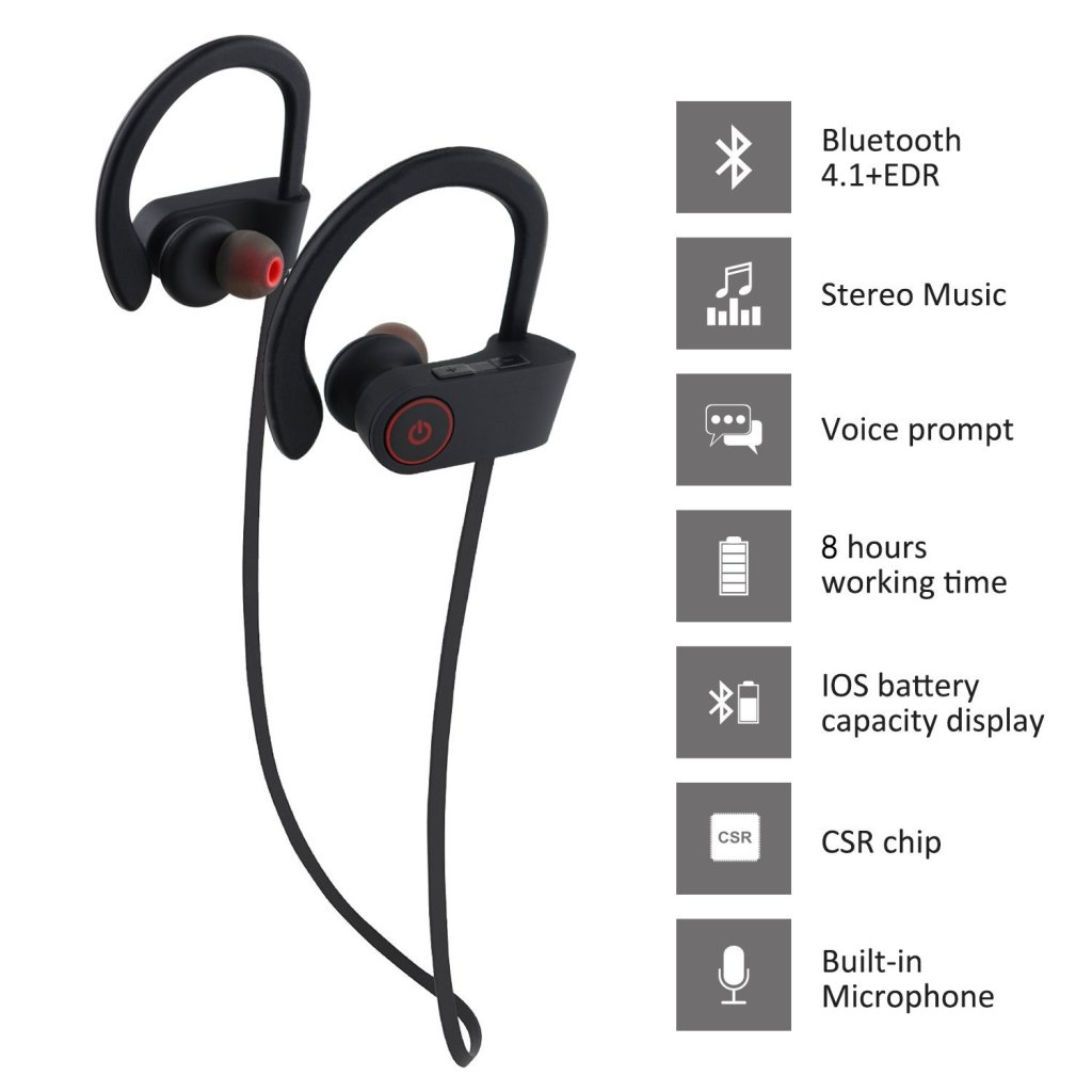Superior Digital News - Otium Wireless Sport Earphones - Mic, IPX7 Waterproof, HD Stereo Sound, 8 Hour Battery, Over-Ear Hook - Features