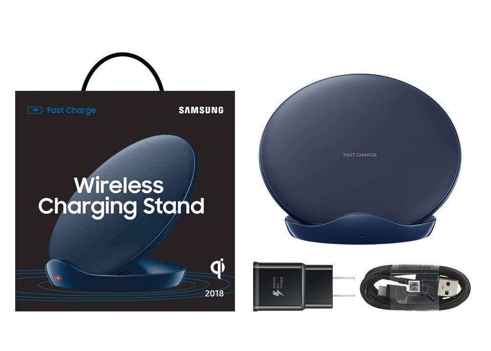 Superior Digital News - Samsung Qi Certified Fast Charge Wireless Charger Stand - Blue - Complete Kit
