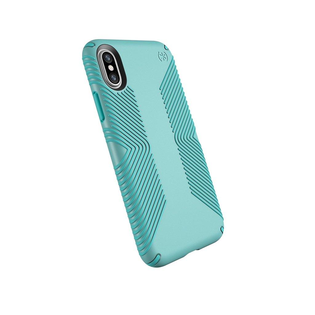 Superior Digital News - Speck Presidio Grip iPhone X & XS Case - Surf Teal-Mykonos Blue - Back