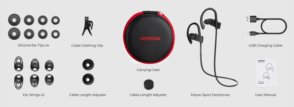 MPOW Flame 2 Bluetooth Sport Earphones & Accessory Kit