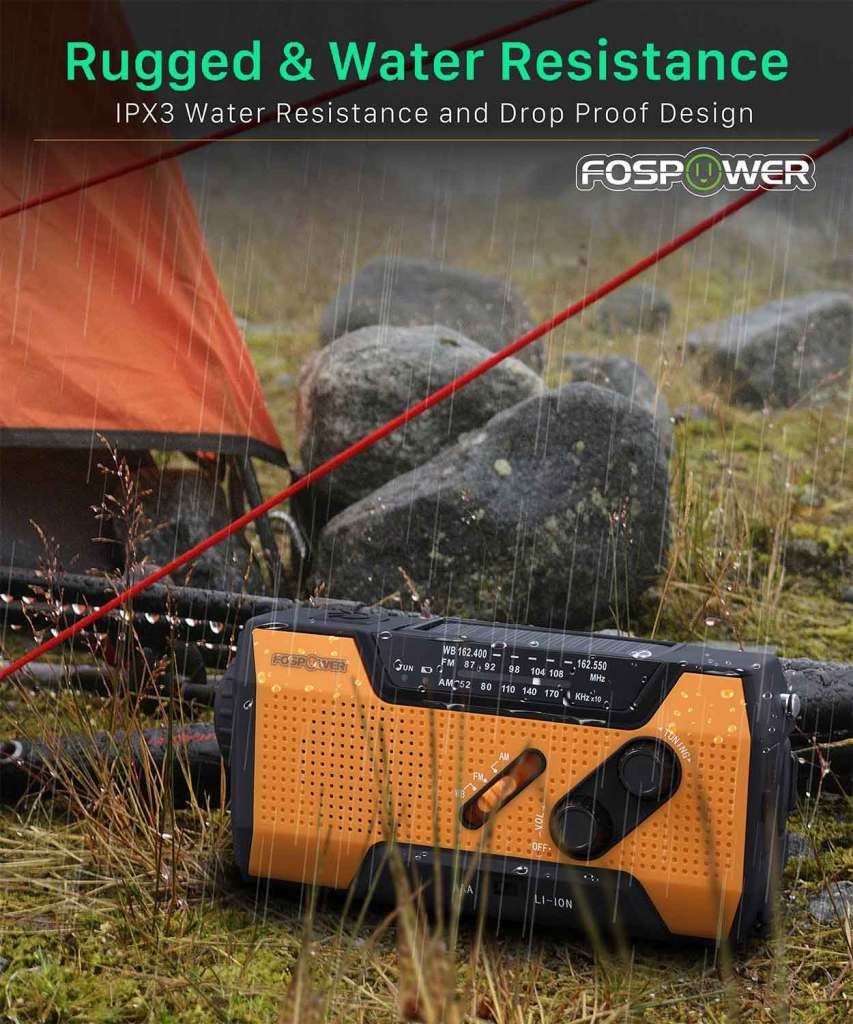 FosPower NOAA Emergency Weather Radio Rugged Water Resistance