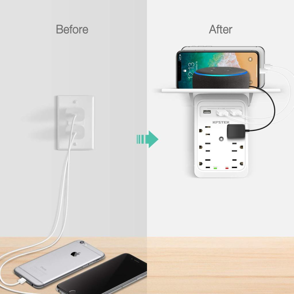 KPSTEK-Multi-Plug-Outlet-Shelf-Before-And-After