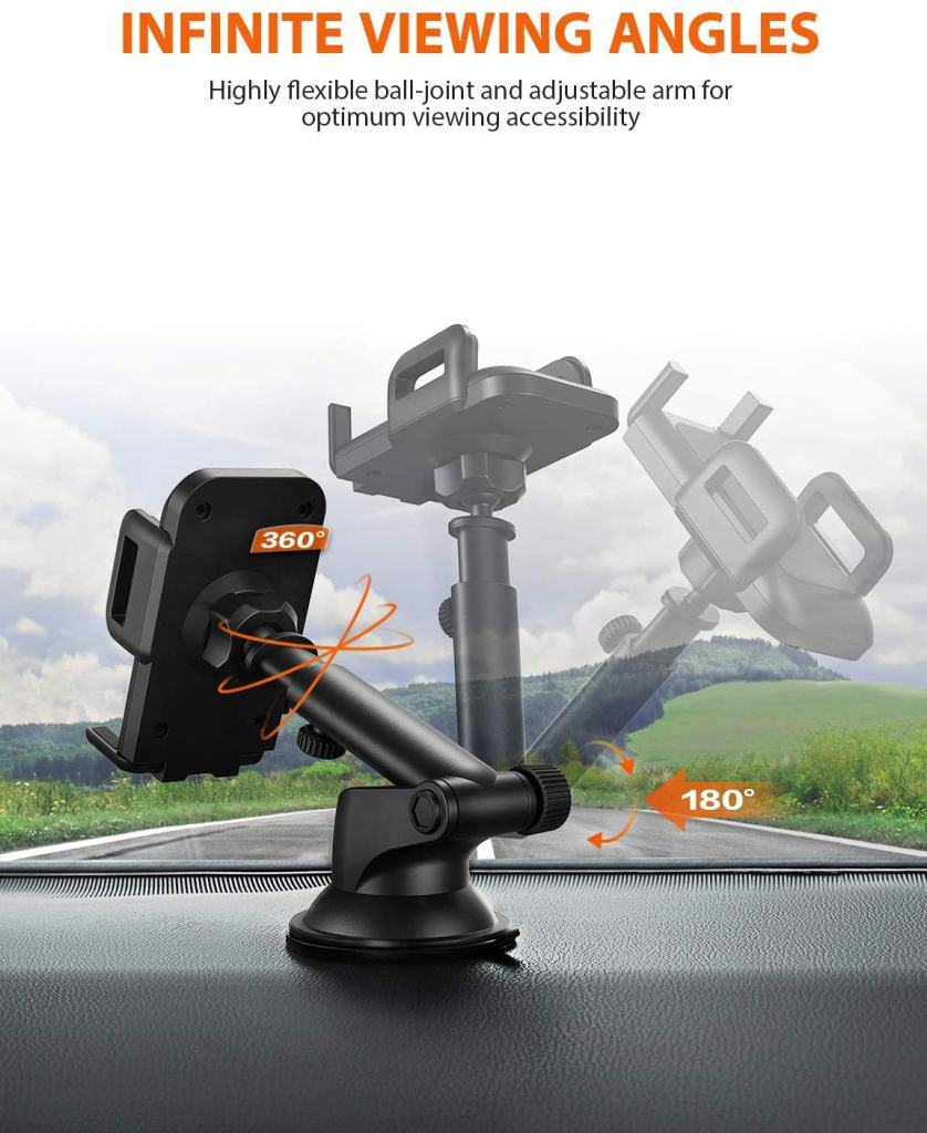 MPOW Telescoping Car Phone Mount - 360° Viewing and Telescoping