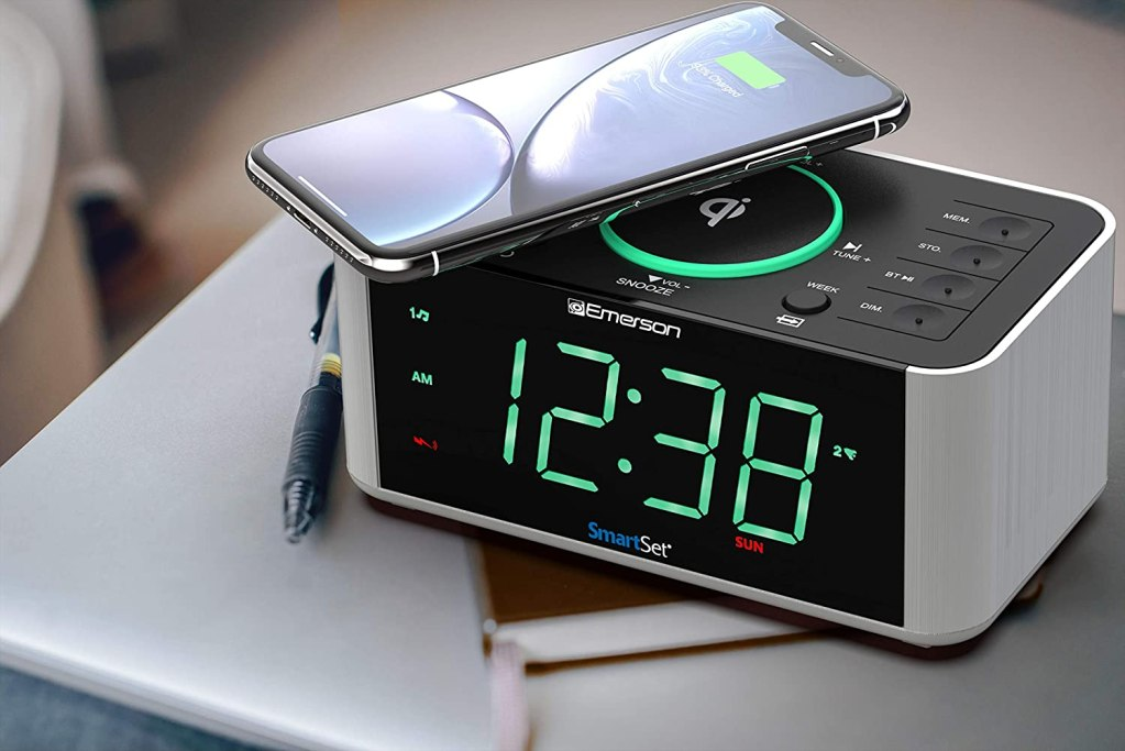 Emerson Alarm Clock Radio and Bluetooth Speaker with Wireless Charger