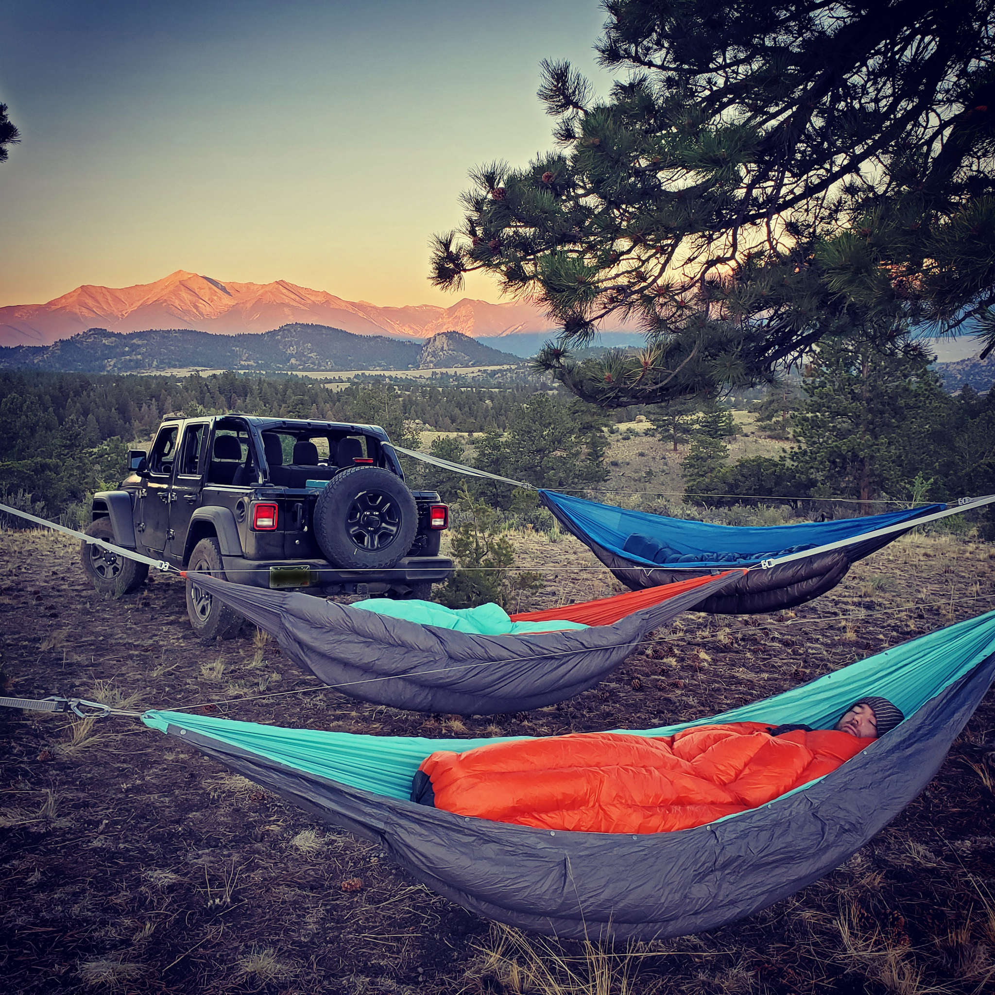 Jeep hammock camping with Superior Hammocks