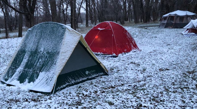 Tents covered with snow