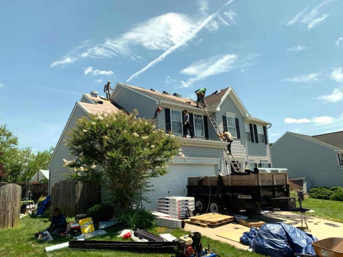 Roofing contractor in Manchester MD 21102: Superior Services of PA & MD. We got this roof replacement approved by insurance for wind damage. Brand new lifetime GAF asphalt shingle roofing system installation.