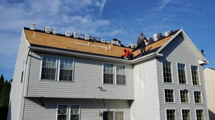 Hampstead MD roofing contractor Superior Services of PA & MD roof replacement and roof repair job in progress