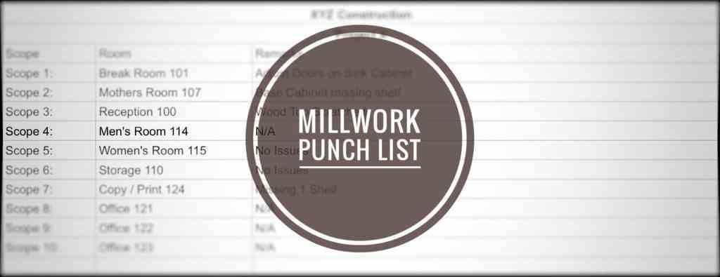 Millwork Punch List