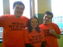 Adam, me, and Mark in our senior shirts.