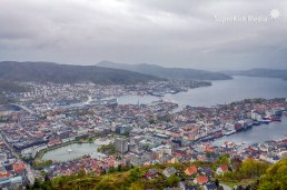 view of Bergen from Mount Floien