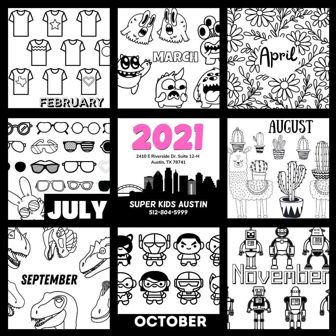 Super Kids Austin Printable Calendar for 2021
