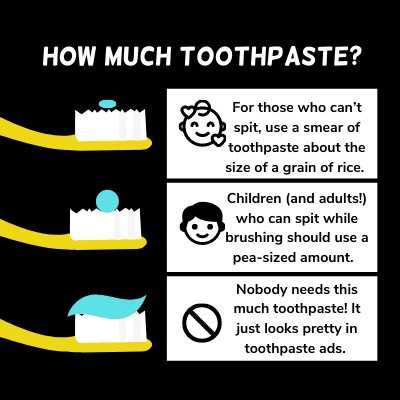 Graphic displaying how much toothpaste babies, children and adults need to use. Babues who can't spit should use a rice-sized smear. Children and adults should use a pea sized abount. Nobody needs the huge amount of toothpaste shown on toothpaste ads.