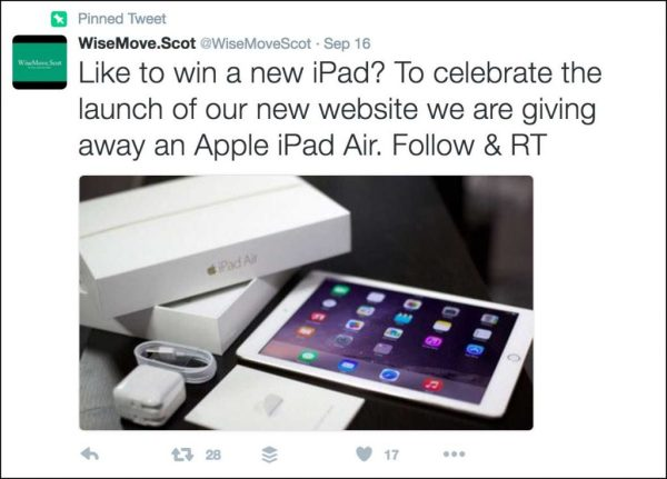 @WiseMoveScot's Twitter competition is a bad example of how to promote