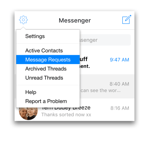 Finding hidden Facebook messages on Messenger