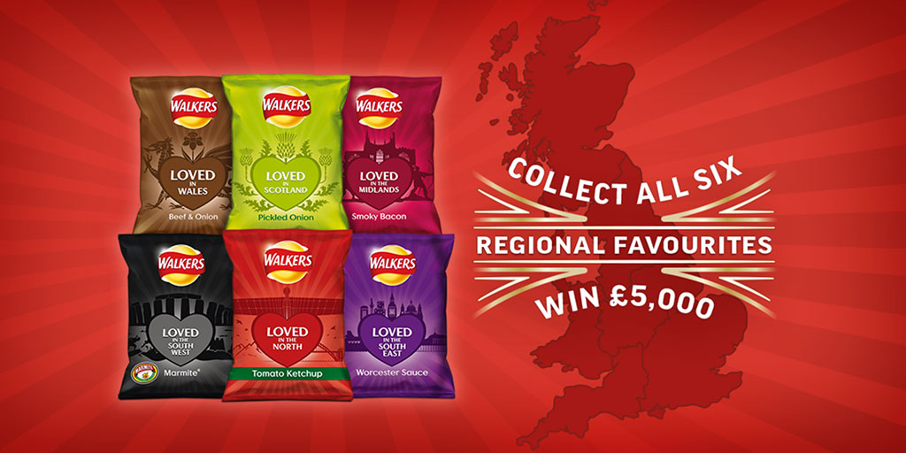 Win £5000 every week when you buy Walkers Regional Favourites!