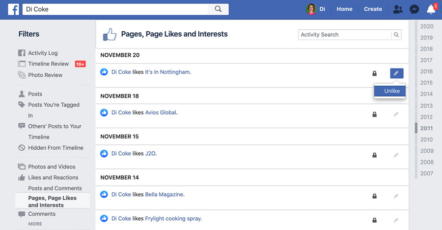 Facebook likes & interests