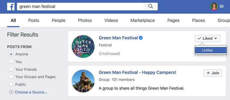 How to unlike pages on Facebook