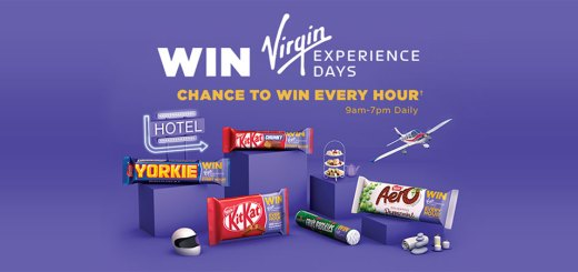 A chance to win a £200 Virgin Experience Day voucher every hour when you buy promotional Nestlé chocolate bars or sweets!