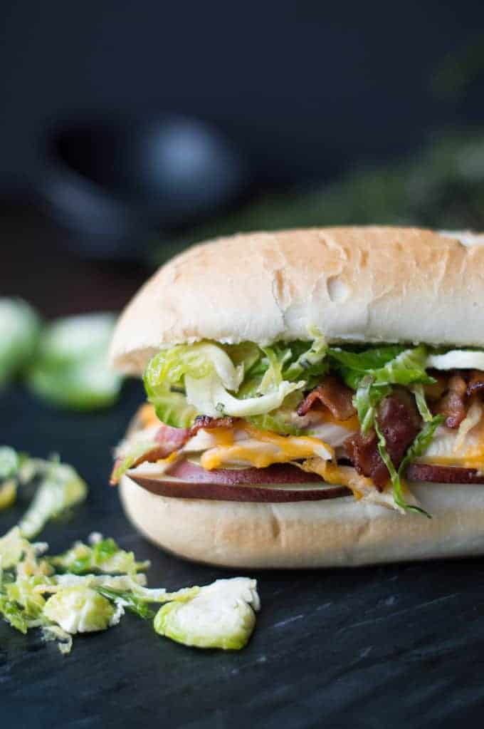 holiday hoagie with turkey, bacon & brussel sprouts   superman cooks