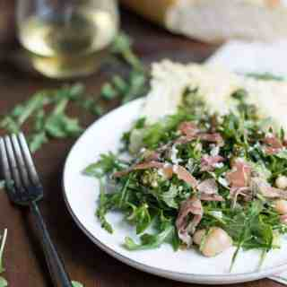 Arugula, White Bean & Prosciutto Salad With Basil Pesto