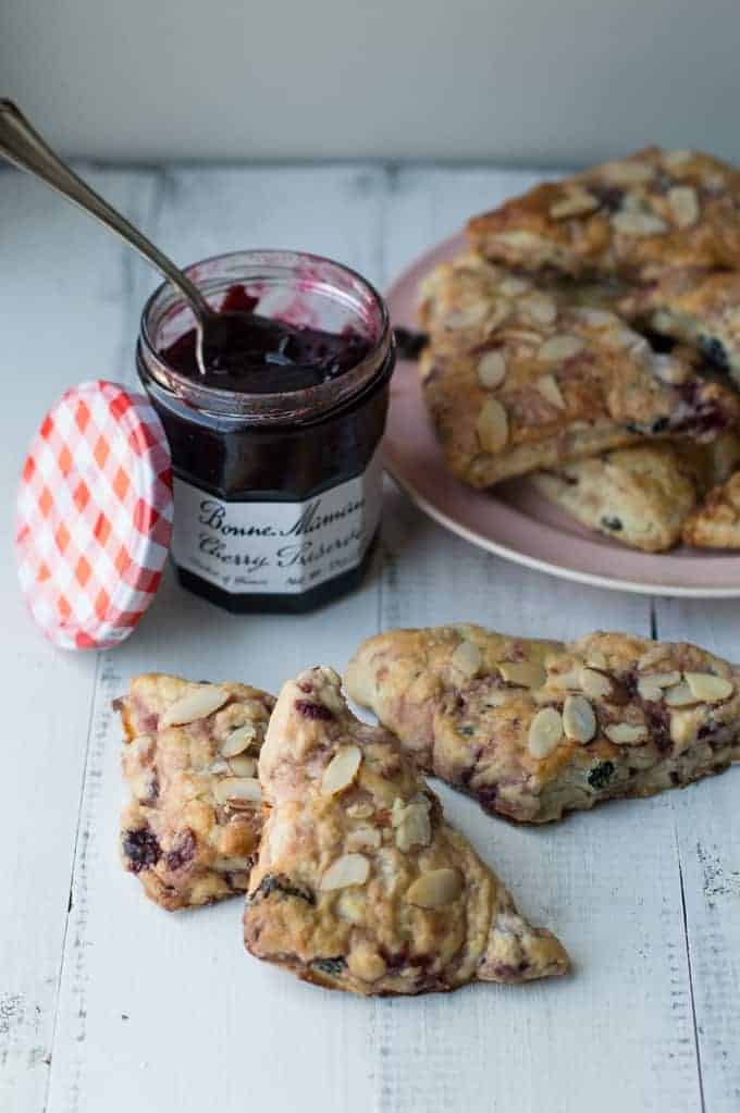 sweet cherry & almond scones | superman cooks