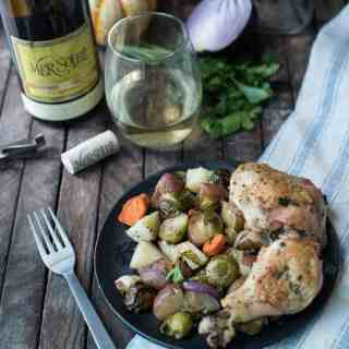 Lemony Garlic Roasted Chicken with Autumn Vegetables