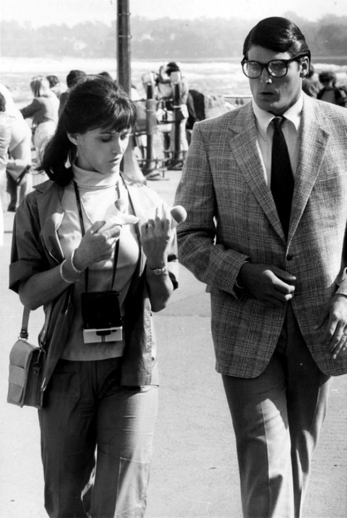 Margot Kidder and Christopher Reeve on set in Niagra Falls