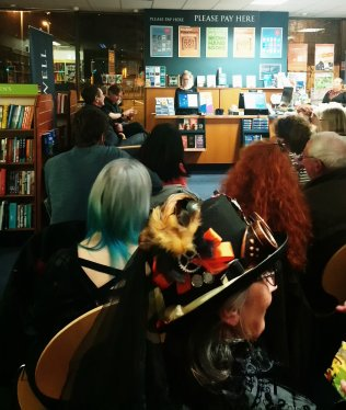 Photo of the audience at the launch event for The Snow Witch by Matt Wingett at Blackwells during Portsmouth DarkFest 2017