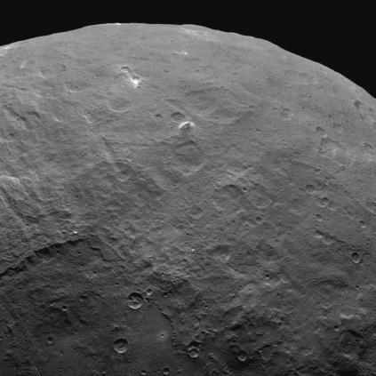 Ahuna mons, the tallest mountain on Ceres. This feature is unique, and is believed to be a cryovolcanic dome.