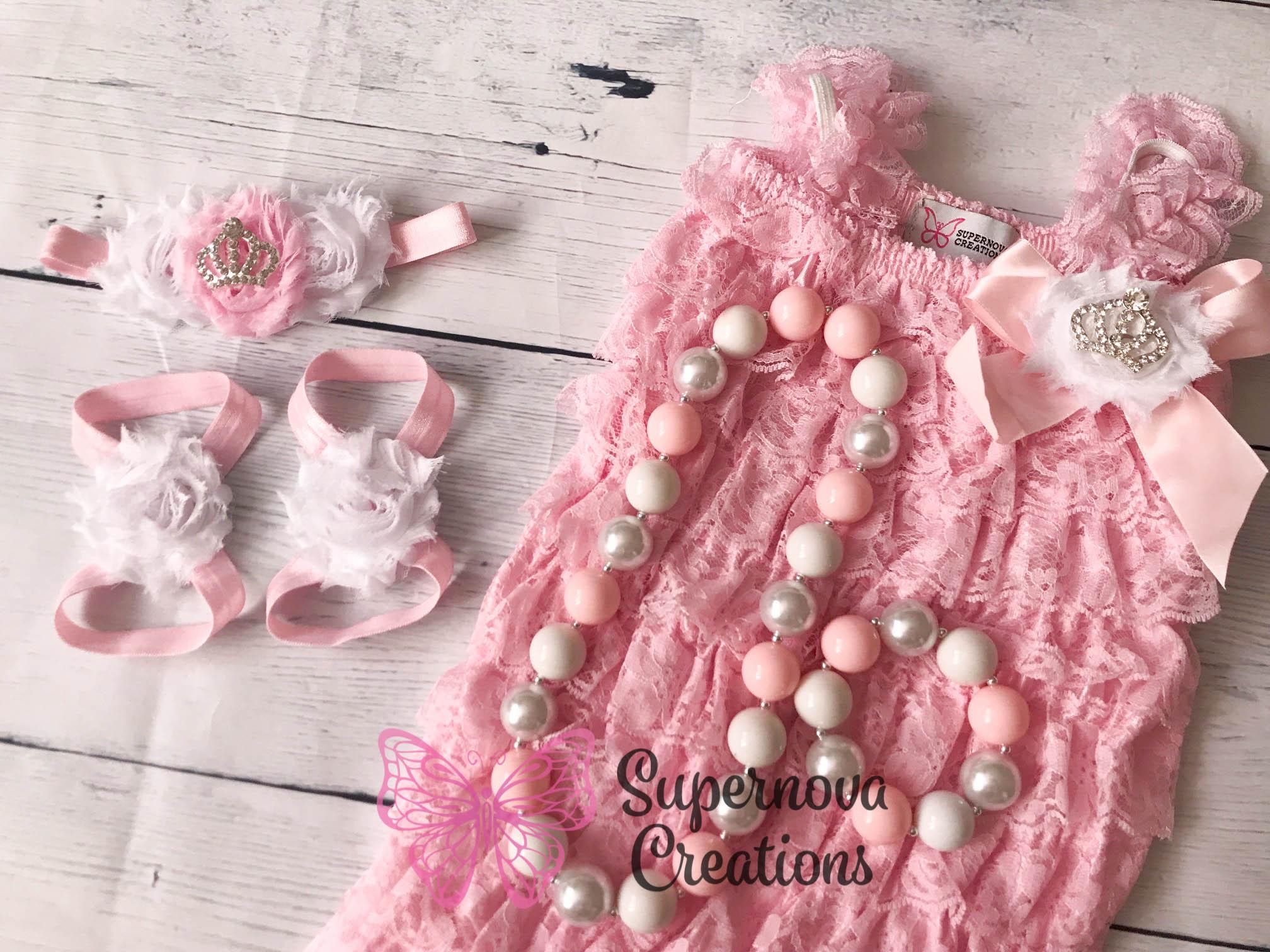 5c70838fb9ca Pink   White Romper Set - Supernova Creations