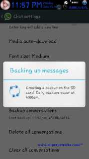 Backing up whatsapp messages