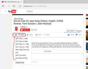 download youtube videos in edge browser