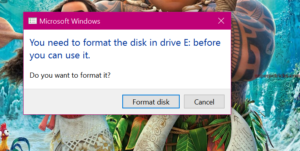 you need to format the disk in drive