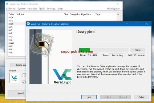 decrypt an encrypted usb drive