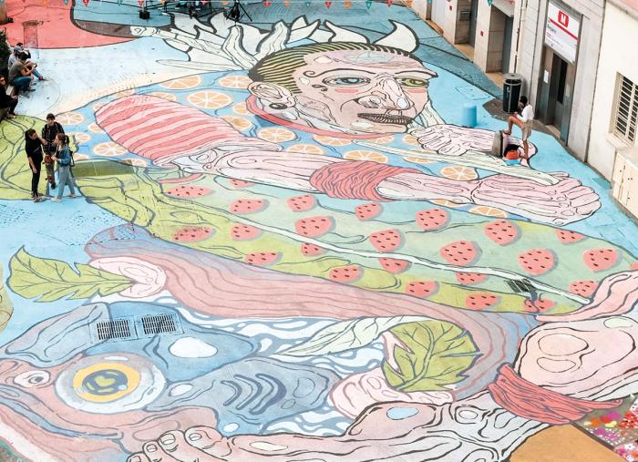 Réalisation de la plus grande fresque au sol à Lyon – 2019
