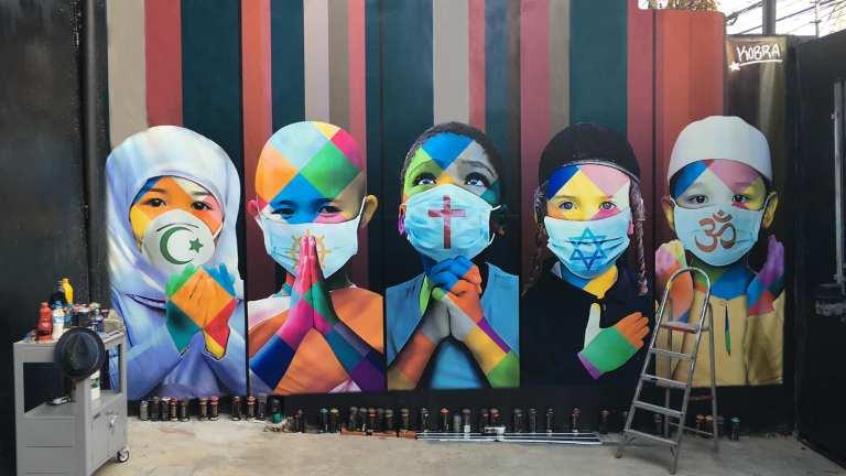 kobra superposition art urbain covid 19