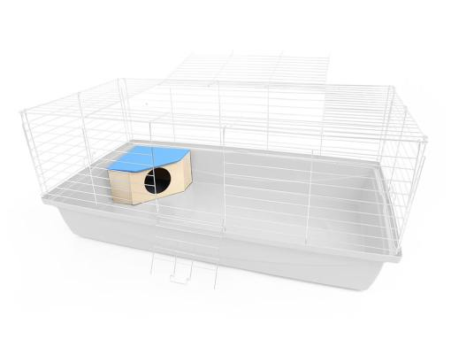 Drewniany narożny domek dla gryzonia, wizualizacja w klatce