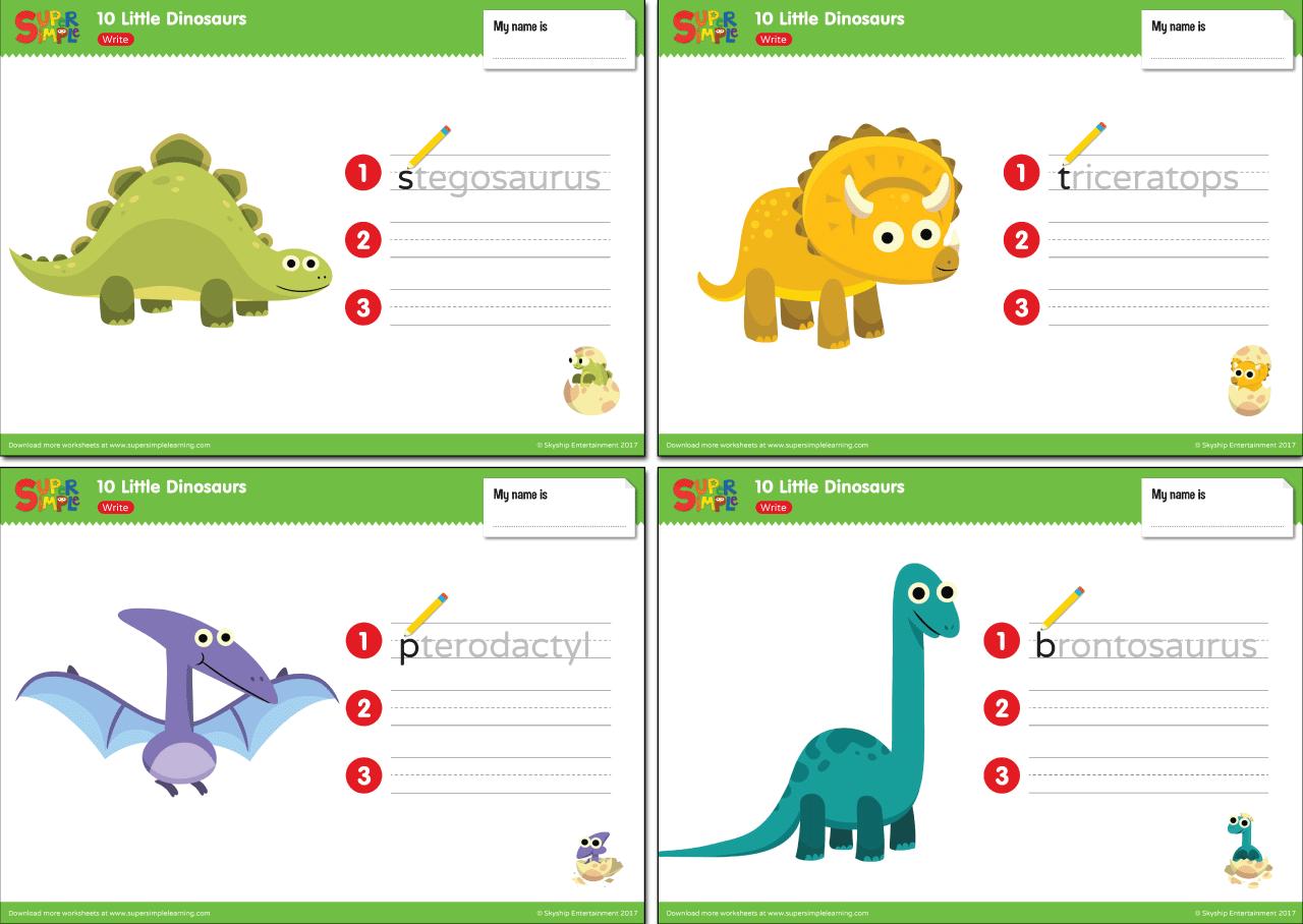10 Little Dinosaurs Worksheets