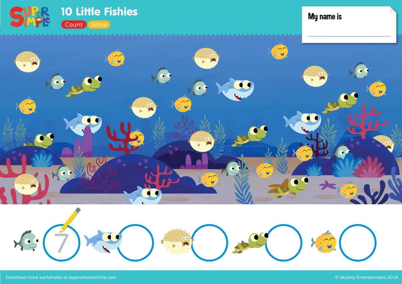 10 Little Fishies Worksheet