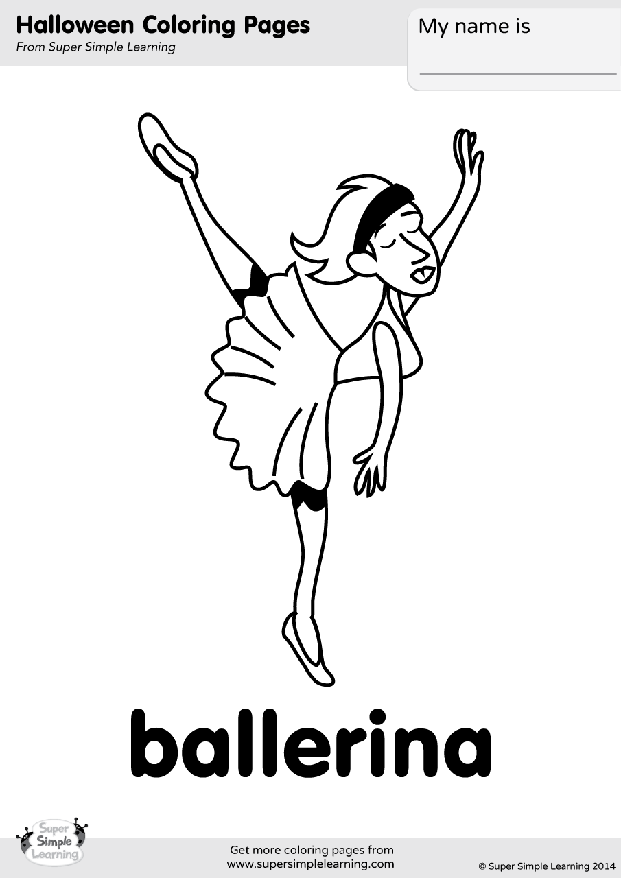 Ballerina Coloring Page Super Simple