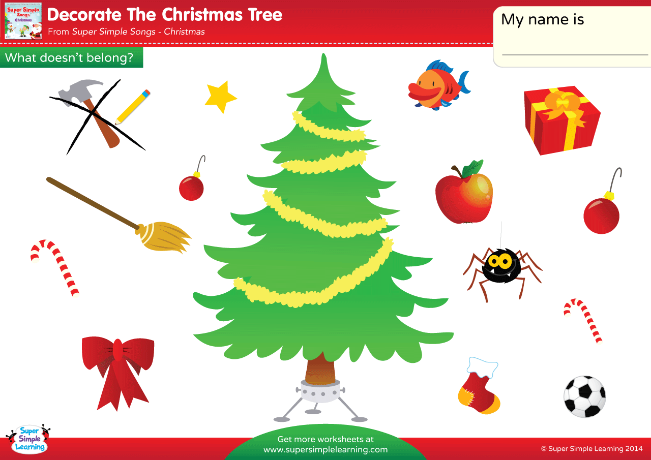 Decorate The Christmas Tree Worksheet