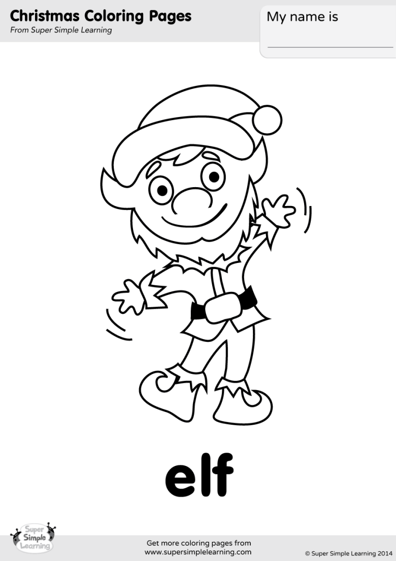 elf coloring page - super simple
