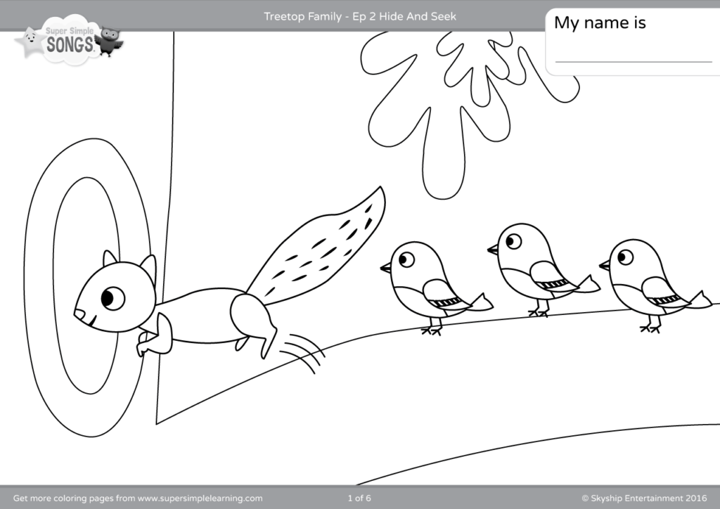 Treetop Family Coloring Pages Episode 2 Super Simple