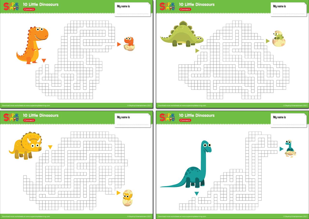 10 Little Dinosaurs Worksheets Maze